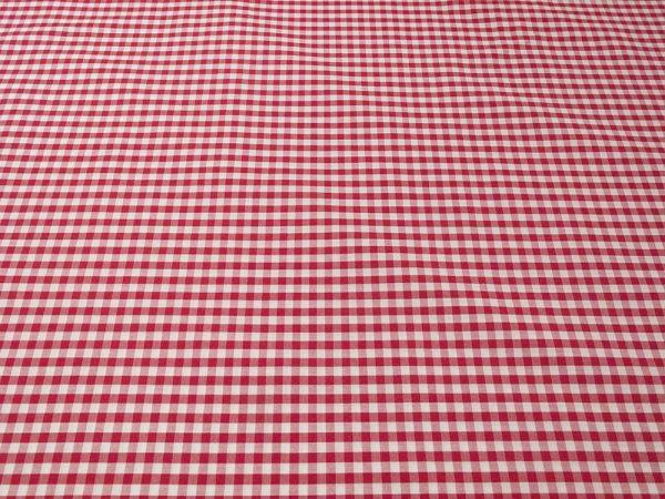 Baumwollstoff gross-kariert in weiss und rot