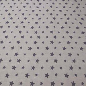 Baumwollstoff mit Sternen in anthrazit und grau