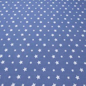 Baumwollstoff mit Sternen in hellblau und dunkelblau