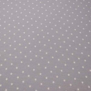 Baumwollstoff mit Sternen in weiss und grau