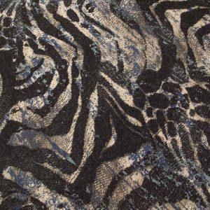 Baumwollstoff mit Streifenmuster in schwarz und beige
