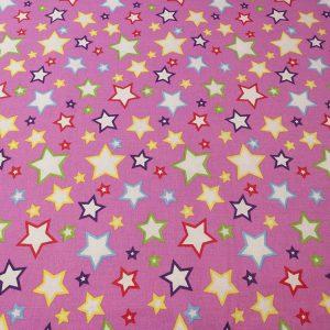 Bunter Stoff aus Baumwolle mit Sternen