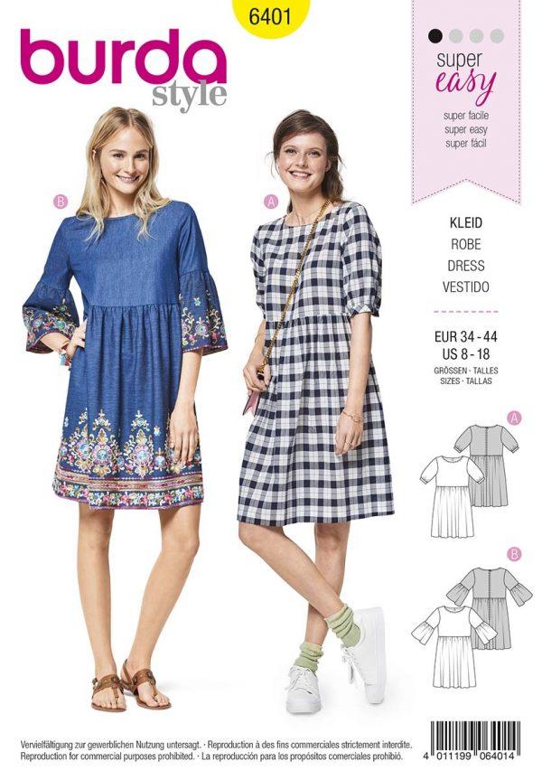 6401 Burda Style Schnittmuster Kleid