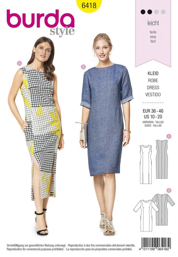 6418 Burda Style Schnittmuster Kleid