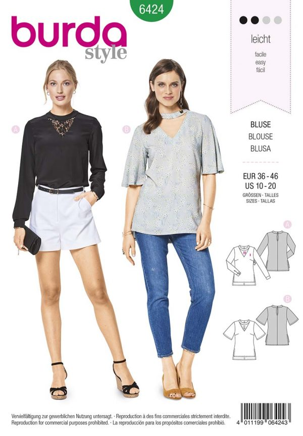 6424 Burda Style Schnittmuster Bluse