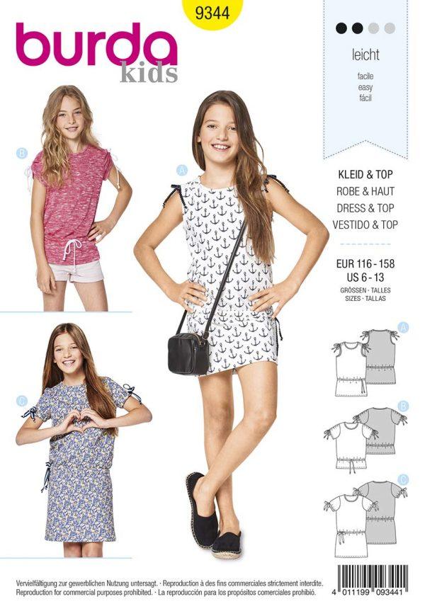 9344 Burda Kids Schnittmuster Kleid und Top
