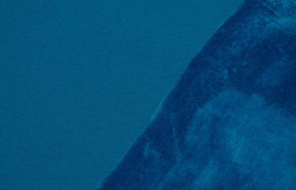 Alpenflausch blau, Sweater mit Fell