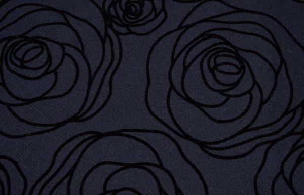Floralprint Stoff in schwarz und anthrazit