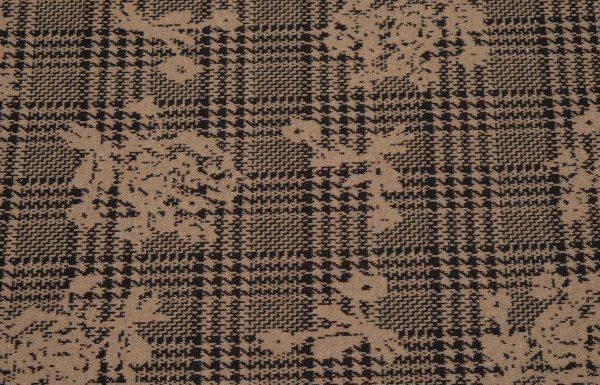 Glencheck Jersey-Strickstoff in braun und schwarz