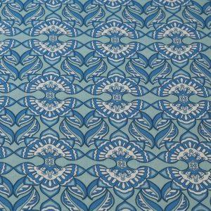 Grafischer Viskosestoff in blau und weiss