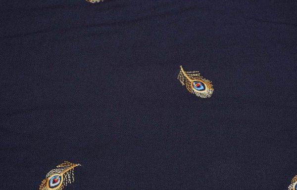 Stoff mit Federn in gelb und blau