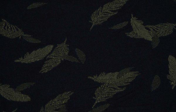 Stoff mit Federn in gelb und dunkelblau